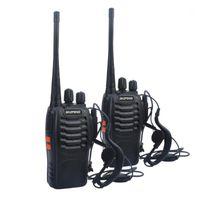 Walkie Talkie 2pcs / lot Baofeng Takie BF-888S UHF 400-470MHZ هام الراديو الهواة 888s vox مع سماعة الأذن