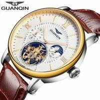 Orologi da polso 2021 Fashion Guanqin Mens orologi Top Scheletro Guarda gli uomini Sport Pelle Tourbillon Automatic Mechanical WristWatch1