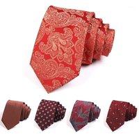 Lazos de arco Design Groom Body Party Party Tie de alta calidad 7 cm rojo para hombres Traje de negocios Corbata Ceremonia clásica Corbata corbata1