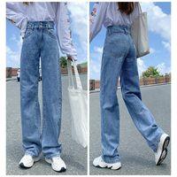 Kvinnors Jeans Ripped Long Sheath High Waist Wide Ben Straight Extra Byxor För Kvinnor XRQ88