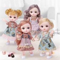 NUEVA 16cm BJD MUÑA 12 JUNTAS MOVEABLE 1/12 DIY Girls Dress Up Ojos 3D Mini Doll Juguete con zapatos de ropa Niños Fashion Cumpleaños Regalo LJ201125
