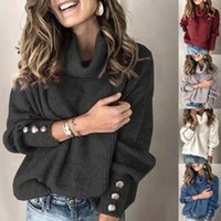 Водолазка пуловер Кнопка Женская Свитера 2020 Женская мода с длинным рукавом Свободные трикотажные свитера Топы для женщин завышением 5xl