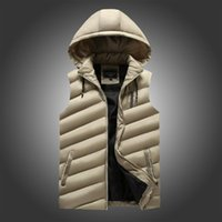 Autumn & Winter New Style Men Hooded Thick Solid Color Cotton-padded Waistcoat Large Size down Vest Cotton Coat