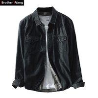 Брат Ван Марка Весна новых людей вскользь Black Denim рубашка 100 Хлопок моды Тонкий с длинным рукавом рубашки Одежда мужская 201021