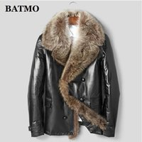 BATMO 2020 new arrival winter high quality natural real leather sheepskin raccoon fur collars 90% white duck down jackets men.A