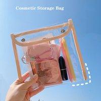 Bolso cosmético transparente Estudiante de gran capacidad Estudiante de lápiz impermeable Portátil Linda Muchacha Bolsa de almacenamiento Bolsa de maquillaje Fichero