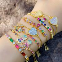 18k золото радуги циркон бриллиантовый браслет тянуть нить регулируемые Корона Сердце Крест шарма браслеты способа женщин ювелирные изделия и песчаная подарок