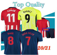 16-XXL 20 21 SUAREZ home away Soccer Jerseys 2020 2021 Camisetas de fútbol Suarez JOAO FELIX SAUL Madrid football Shirt Men + Kids Kits