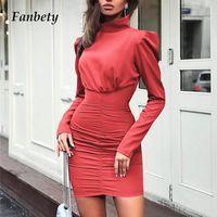 Fanbety Sonbahar Kadın Pileli Paket Kalça Elbise Lady Puf Uzun Kollu Bodycon Mini Elbise Zarif Rahat Balıkçı Yaka Parti Elbise Y200120