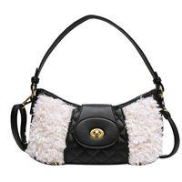 Inverno Moda Autunno velluto solido grata di diamante femminile Mezza Luna Bag Crossbody Versatile borsa borse a spalla per le donne 2020