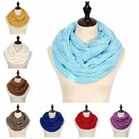 Мода Вязаная Теплый шарф Круг Loop 25 Цвета шерсти шарфы шарф зимы Женщины Мужчины шеи Мягкие шарфы партия Фавор DDA687