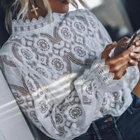 2020 أنيقة قمصان الدانتيل زهرة بلوزة السيدات قمم عارضة فضفاض كم طويل بلايز و تيشرت المرأة أنثى قميص الأبيض