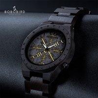 Bobo Bird Wood Watch Norse Rune Boussole Mens Montres 2020 Bracelet de luxe Bracelet en bois Heure d'horloge de bambou Boîte-cadeau Bambou Reloj Hombre Lj201212