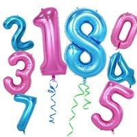 Ücretsiz kargo 40 inç yeni fantezi mavi, pembe numarası balon çocuk oyuncakları doğum günü partisi düğün dekorasyon balonlar1