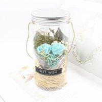 꽃 비누 장미 LED 비누 꽃 발렌타인 데이 생일 선물 불멸의 RGB 빛 천연색 돔 진짜 보존 된 영원한 장미 FFD4190