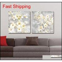 DYC 10059 2 UNIDS Flores blancas Impresión de arte listo para jllwbx comerout