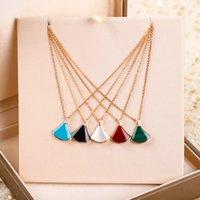 Роскошное качество вентилятора в форме вентилятора кулон ожерелье в пяти разных цветных природы для женщин свадебный подарок ювелирных изделий PS8099