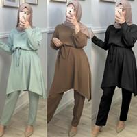 Ethnische Kleidung Muslimische Abaya Kleid Sets Tops Hosenanzüge Pantalon UAE KIMONO Langkatfan Naher Osten Ramadan Eid Mubarak Arabisch Islamic Clothi