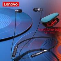 헤드폰 이어폰 원래 Lenovo HE05 블루투스 5.0 무선 마그네틱 넥 밴드 실행 스포츠 이어폰 이어폰 방수 잡음 C