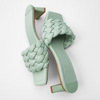 YUXIANG 2020 Chaussons Femmes Femmes Sandales Weave Sandales en cuir à bout ouvert Casual 5CM Slides été en plein air Plage Tongs X1020
