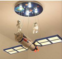 Espacio de la habitación de los niños Satélite LED LED de araña Control remoto Iluminación Luminaria para niños Dormitorio Nursery Historieta Colgante Lámpara