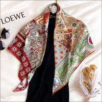 الأوشحة النسائية الإناث الحرير الأوشحة للسيدات اليد المدلفنة وشاح 90 الفولار Luxe La Danse des Amazones