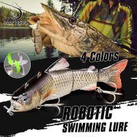 Robotic nuoto esche pesca auto elettrico esca esca wobblers per 4 segmenti Swimbait USB ricaricabile lampeggiante LED luce LED Y200911