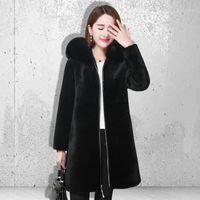 여성용 모피 가짜 여성 겨울 코트 2021 큰 칼라 패션 따뜻한 고품질 플러스 사이즈 밍크 헤어 자켓 블랙 Overcoat1