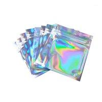 100 pcs s / m / l / xl saco cosmético plana de animal de estimação um lado limpo laser holográfico mini alumínio sacos de folha de alumínio