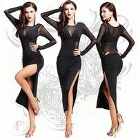 Sahne Giymek Latin Dans Elbise 1 ADET Naylon Buz Ipek Kadın / Bayan / Kadın Rekabet Elbiseler Salsa / Balo Salonu / Cha Cha / Dansçı için Latin Giyim