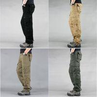 Moda Askeri Stil erkek Kargo Pantolon Rahat Çok Cepler Taktik Askeri Pantolon Bahar Pamuk Ordu Pantolon Erkekler 8 Cepler J1218