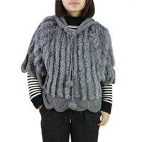 Pelliccia femminile Faux lavorato a maglia solido o-collo reale con donne con cappuccio e ragazze gilet naturale gilet giacca giacca all'ingrosso arppihop1