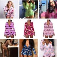 2021 Женские комбинезоны Pajama onsicies Valentines подарок на ночную одежду Одиночные Одиночные Кнопка леопарда Печать V-образных вырезов Дамы короткие Rompers S-2XL