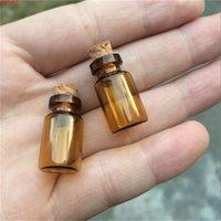 13 * 24 * 6mm 1ml mini bottiglie di vetro ambra con tapparelle vuote minuscole flays vasetti piccolo bottiglia di desiderio 100pcs / lot spedizione gratuitaSallity