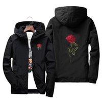 Bordado Rose Flor Windbreaker Casaco Homens Com Capuz Bomber Jaqueta Jaquetas Mens de Pele Jaqueta Masculina Tamanho Big S 7XL