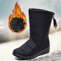 Stiefel ghjiol winter frauen mid-calf schnee frauen schuhe keile warm felf weibliche boot chaussure femme botinen mujer 2021