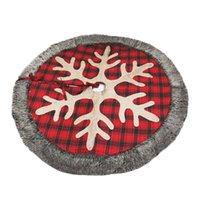Yılbaşı Ağacı Etek Kar taneleri Faux Kürk Sınır Noel Süsler ile 48 inç Geniş çuval bezi Tartan Yılbaşı Ağacı Etek