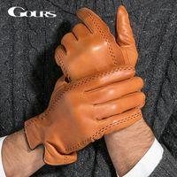 GURS зимние мужские натуральные кожаные перчатки 2020 новый бренд сенсорный экран перчатки мода теплые черные козлоковицы Mittens GSM0121