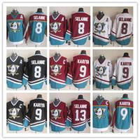 أناهيم البط مخيط NHL جيرسي # 8 Teemu Selanne # 9 Paul Kariya # 13 Teemu Selanne # 35 Jean-Sebastien Giguere Ice Cheap Hockey Jerseys