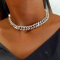 Colore dell'argento dell'alto dell'argento ghiacciato della collana del girocollo delle donne della collana delle donne della collana di cristallo della catena del collegamento cubana della collana dell hip hop