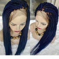 250dité Perruque Perruque Sénégalaise Dentelle Perruque tressée Synthétique Brésilienne avec Perruque avant de la dentelle bleue couleur bleue pour femmes