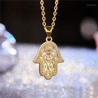 Juya Neues Design Trendy Gold / Rose Gold Hamsa Hand von Fatima Anhänger Halskette Für Frauen Männer Mode Türkische Schmuck Großhandel1