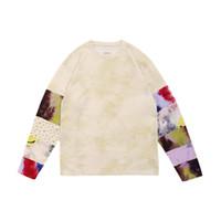 Meilleure qualité Tie Cravate Patchwork Kapital T-shirts Hommes Femmes T-shirt à manches longues Tops Tee x1227