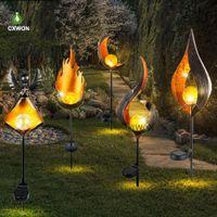 LED Llama parpadeante parpadeante sol luna solar antorcha luces impermeable al aire libre jardín paisaje decoración de la llama de la llama