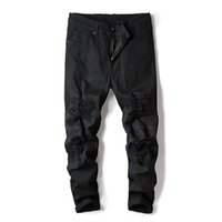 2020 neue Mens Distressed Biker Loch Jeans Art und Weise faltete zerrissene Denim-Jogger Schwarz Slim Fit Hose mit Hip-Hop-Patches