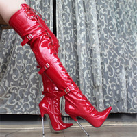 18 cm tacchi alti stivali da donna in pelle lucida della coscia in pelle lucida sopra il ginocchio Fenty Beauty Gothic Stivali da donna