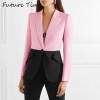 Gelecek Zaman 2020 Kadın Blazer Pembe Uzun Kollu Blazers Katı Bir Düğme Ceket Office Lady Ceket Derin V yaka Dış Giyim Sonbahar