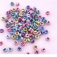 100 шт. / Лот 7x4 мм Многоцветный круглый алфавит / буква акриловые свободные разные бусины для ювелирных изделий изготовления DIY браслет ACC QYLNUL