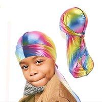 Bambini Holographic Laser Durag Premium Seta Satin Doo Rag Wave Cap Designer Designer Pirate Hat Party Beach Caps Head Wrap Visor Gifts GG12207