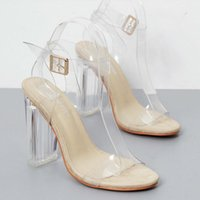 Sandalias موهير 2021 كلمة ذات كعب عالي جديد مع فتح تو أحذية الكريستال شفافة سميكة مع الصنادل النسائية